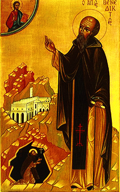 Orthodox Christian Icon of St. Benedict of Nursia.