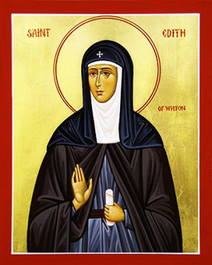 Orthodox Icon of English Saint, Edith (Eadgyth) of Wilton 300x375px