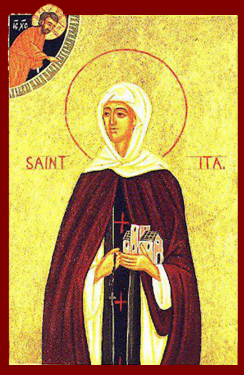 Orthodox Christian Icon of Irish Saint, St. Íte (Ita) of Cluain Credail (Killeedy)
