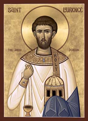 Orthodox Christian Icon of Roman Saint, Archdeacon and Martyr St. Laurence of Rome