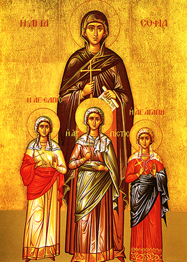 Orthodox Christian Icon of St. Sophia and her Daughters; Faith, Hope, and Charity